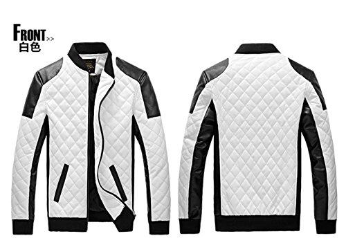 Junsi da uomo, colore: nero/bianco, in pelle sintetica, supporto per collo, da Biker Giacca da moto, taglia L, colore: bianco
