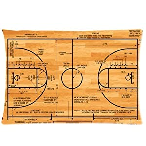 Pillowcase cover basketball court diagram standard size 20x30 for Average basketball court size