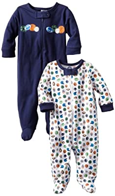 Gerber Baby-Boys 2 Pack Sleep N Play Zip Front Sports, White/Blue, 3-6 Months