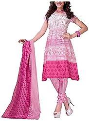 D WINE Women's Cotton Unstitched Salwar Suit (Pink)