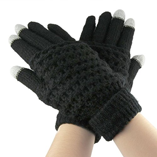 Lerway Lady Girls Women Gloves Winter Warm Wool Knitted Touch Screen Gloves for Touch Screen Cell Phone Tablet PC iPhone 6 Plus Google Nexus 7 5 HTC Samsung Galaxy S5 LG – Black