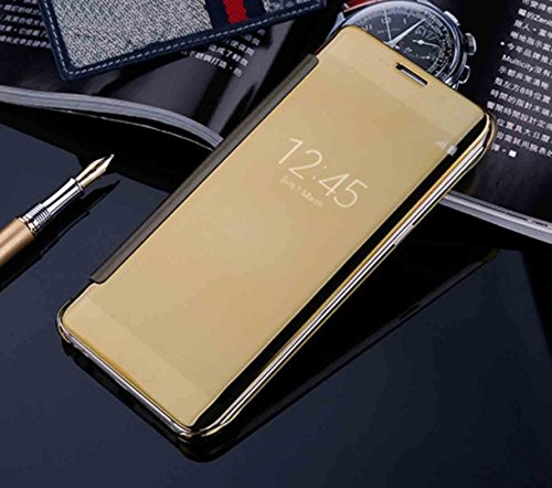 Galaxy 2016 J7 Mirror Case, OMORRO New Cool Luxury Clear View Flip Smart Stay Window Sleep/Awake [QR Code] Hyperbolic Mirror Ultralight Thin Protect Case for Samsung Galaxy J710 Gold (Windows Phone New compare prices)
