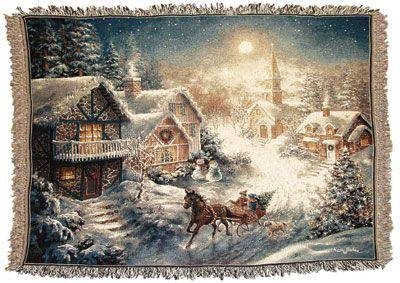 Simply Home One Horse Open Sleigh Tapestry Throw Blanket front-872441