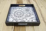 Zentangle print wooden tray resin finish lacquered frame no glass square serving tray gift 10X10 inches