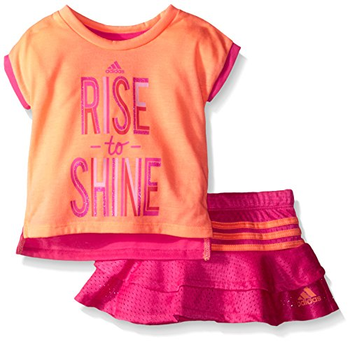 Adidas Baby Girls' Top and Skirt Set, Flash Orange, 12 Months
