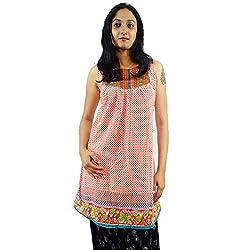 ShopMore Cotton Short Kurta(Orange_Large)