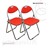 RED Faux Padded, Folding, Office Desk Chair Seat Comfortable Foldable Easy Carry & Storage (SET OF 2 CHAIRS), width 40cm
