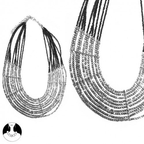 SG Paris Necklace 10 Rows 43 cm Silver and Black Glass Argente Necklace Necklace Metal/Enamel/Strass Winter Women Ethno Glam Fashion Jewelry / Hair Accessories Z Others