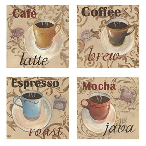 Classic Latte Espresso Mocha Coffee Decorative Prints; Kitchen Decor; 4-12X12 Paper Poster Prints (Coffee Cups Kitchen Decor compare prices)