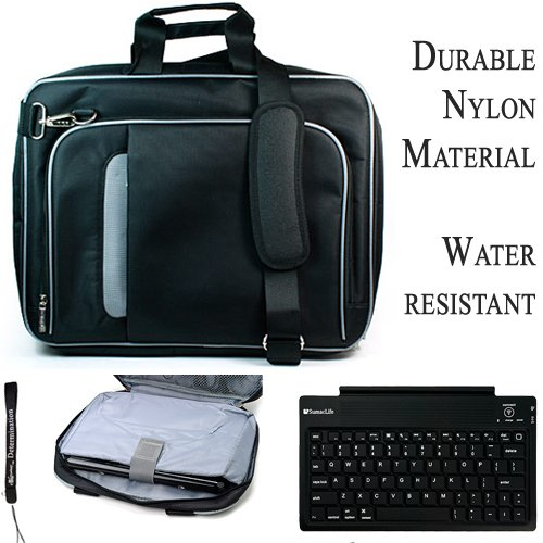 Black Silver Travel Smart Carrying Case With Optional Adjustable Shoulder Strap // Airport Check-Point-Friendly // For Toshiba Satellite L630 Notebook 13.3 Inch Screen Portege + Includes A Slim Wireless Bluetooth Keyboard