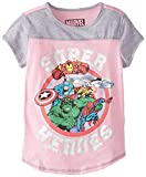 Marvel Big Girls' Super Heroes Jersey Colorblock Baseball Tee with Coverstitch