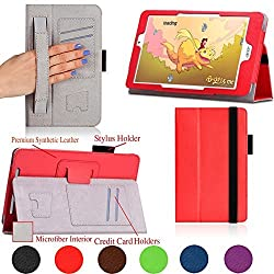 For Acer ICONIA TAB 8 W (W1- 810) 8-inch Windows Tablet PREMIUM QUALITY PU LEATHER FOLIO PROTECTIVE CASE, COVER, STAND with MICROFIBER INNER, STYLUS SLOT, with Secure Elastic Strap Closure, Hand Strap and Credit Cards / ID Holders! RED.