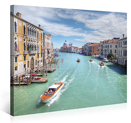 impression gicl e sur toile en grand format venice canal 100x75cm photo sur toile de. Black Bedroom Furniture Sets. Home Design Ideas