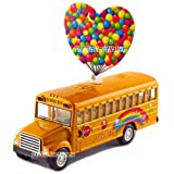 """12 Pcs In Box: 5"""" Die Cast Rainbow School Bus, Pull Back Action (Yellow)"""