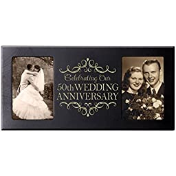 Dayspring Milestones 50th Anniversary Parent Wedding Gift 50th Wedding Anniversary for Couple Picture Frame Size 16 Inches Wide X 8 Inches High Holds 2- 4x6 Photos (Black)