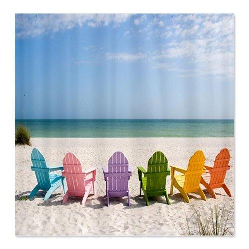 CafePress Beach Chairs Shower Curtain