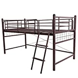 UNE BONNE(ウネボネ) はしご スペース ロフトベッド 一人暮らし用・子供部屋 二段ベッド シングルベッドフレームBROWN