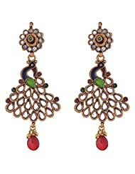 The Jewelbox Antique Gold Plated Peacock Meena Kundan Long Earring