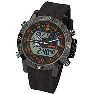 INFANTRY Mens Youth-Boys Black Dial Analogue-Digital Combo Display Black Rubber strap Watch with Backlight & 30 Meters Water Resistant #IN-048-O-R