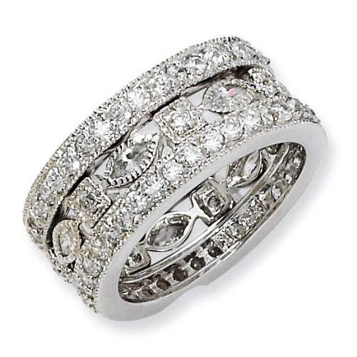 Sterling Silver CZ Eternity Three Ring Set - Size 7 - JewelryWeb