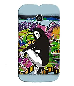 Fuson Dance Girl Back Case Cover for MOTOROLA MOTO E - D3670