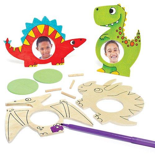 恐竜 ぬりえ フォトフレームキット 木製(5個入り)子供達の手作り、思い出のプレゼントに 楽しい写真立て 子どもたちの工作、手作りプレゼント、キッズパーティ、夏休みの自由研究に