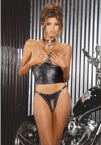 Women's Leather Cupless Chain Top