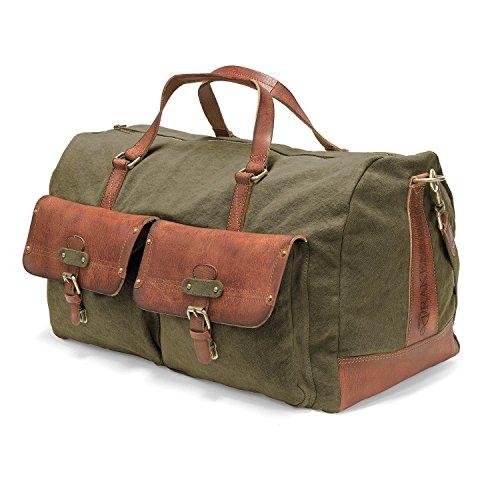 DRAKENSBERG Kimberley Long Weekender, borsa da viaggio, borsone, grande, bagaglio, tela, canvas, pelle, vintage, lussuosamente, verde oliva, marrone