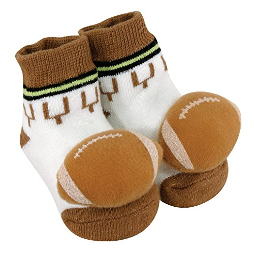 Stephan Baby Sports Fun Non-Skid Rattle Socks, Football, 6-12 Months - 1