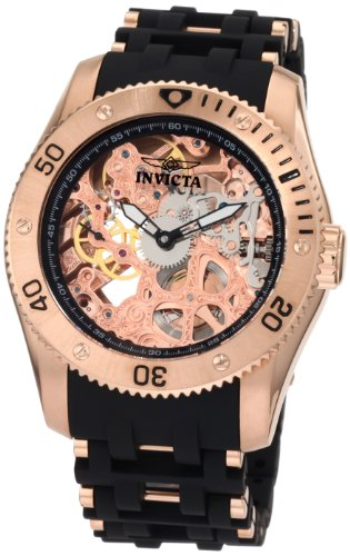 Invicta Men's 1259 Sea Spider Mechanical Skeleton Dial Black Polyurethane Watch