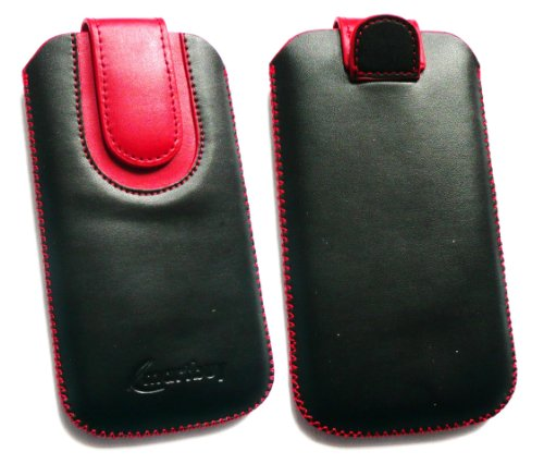 Emartbuy ® Nokia N97 Mini Black / Red Premium-Pu-Leder Slide In Pouch / Case / Sleeve / Holder (Größe Large) Mit Pull Tab Mechanismus Und Lcd Screen Protector