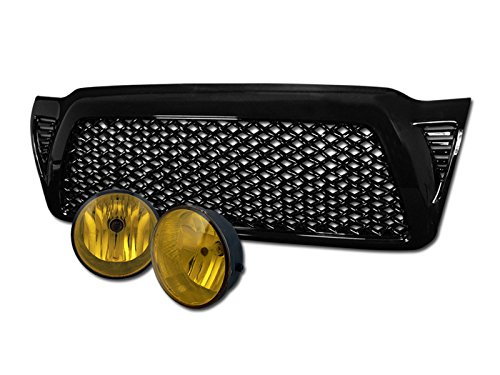 BK MESH FRONT BUMPER GRILL GRILLE ABS+FOG LIGHTS LAMP YELLOW DY 2005-2011 TACOMA (Tacoma Fog Light Insert compare prices)