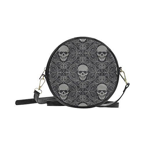 meincare Women's Retro Art Skull Wallpaper PU leather Round Messenger Bag Shoulder Bag (Wendy Adams Family)