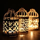 B&Y Fashion Personality Hollow-out Decorative Birdcage Iron Candle Holder Hanging Lantern
