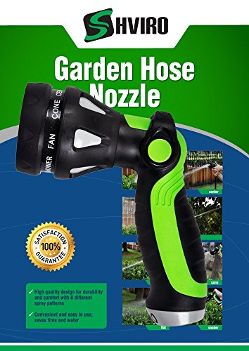 SHVIRO Garden Hose Nozzle - Superior Construction Lawn Water Hose Nozzle Sprayer - Easy Thumb Controlled Water Flow - 8 Unique Water Flow Pattern Settings Including Spray