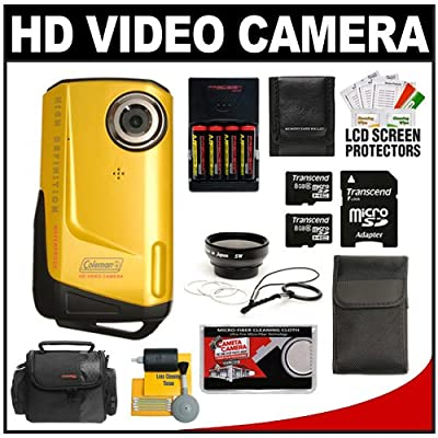 Coleman Xtreme CVW9HD Waterproof 1080p HD Digital Video Camera Camcorder (Yellow) with (2) 8GB Cards + 0.45x Wide Lens + (4) Batteries &amp Charger + Case + Accessory Kit
