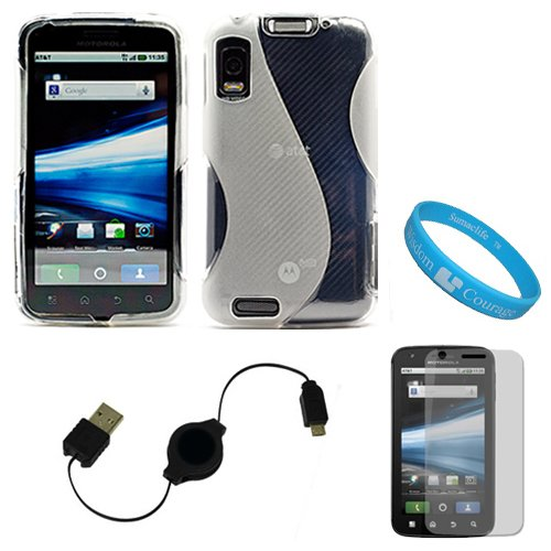 Clear Fusion Thermoplastic Polyurethane Protective Dual Textured TPU Silicone Skin Cover Case for AT&T New Motorola Atrix 4G Dual Core Android Smart Phone MB860 (Olympus/Atrix 4G) + Clear Screen Protector + Black Retractable Micro USB Data Cable Cord + SumacLife TM Wisdom Courage Wristband