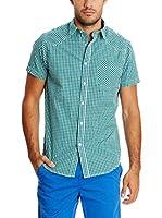 New Caro Camisa Hombre Camisa (Verde)
