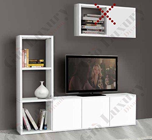 Set soggiorno composto da libreria porta tv bianco frassinato, stile moderno, in mdf laminato - Mis. 175 x 30 x 132