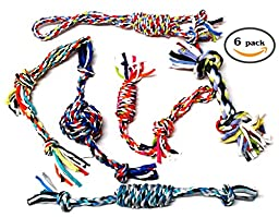 Dog Toys - Set of Six Ropes Chew, For Small to Medium Dogs - Doggy Rope Toy