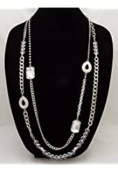 Brilliant New High End Silver Tone Crystal Statement Necklace
