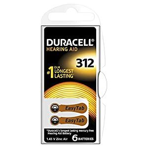 Duracell Size 312 1.4 V Zinc Air EasyTab Hearing Aid Batteries - Pack of 6
