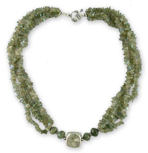 Labradorite strand necklace, 'Iridescent Muse'
