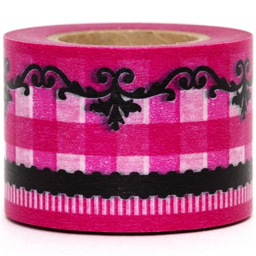 wide Washi Masking Tape deco tape pink checked pattern