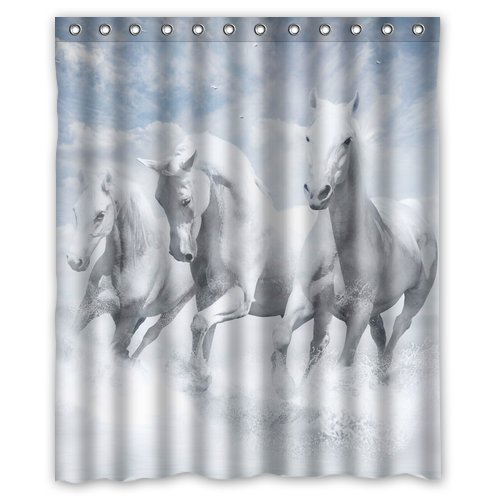 Custom Unique Design Animal Horse Waterproof Fabric Shower Curtain, 72 By 60-Inch back-517189