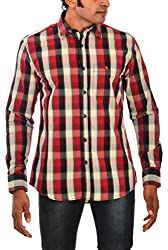 Indipulse Men's Casual Shirt (IF1160309A, Red and Black, M)