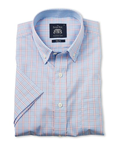 Savile Row Men's Blue Red Check Short Sleeve Slim Fit Casual Shirt savile row men s blue red check short sleeve slim fit casual shirt