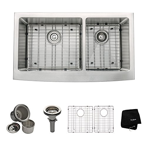 Kraus 36 inch Farmhouse Apron 60/40 Double Bowl 16 gauge Stainless Steel Kitchen Sink