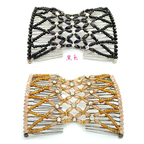 Casualfashion 2 Pcs Glittering Crystal Rhinestone Hair Combs Double Clips Insert Hair Accessories for Women (Double Comb Hair Clip compare prices)