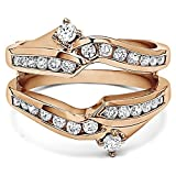 0.79 ct. Cubic Zirconia Ying Yang Inspired Anniversary Ring Guard in Rose Gold Plated Sterling Silver (3/4 ct. twt.)